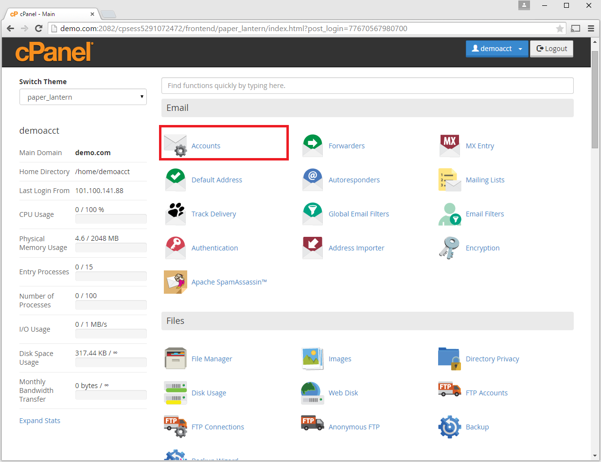 cpanel email accounts icon